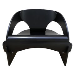Joe Colombo Plywood Black 4801 Lounge Chair, Kartell, 1960s