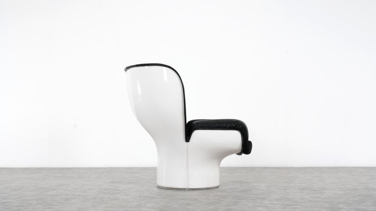 Joe Colombo  Rare Elda Lounge Chair for Comfort, Italy, 1963, Black & White For Sale 3