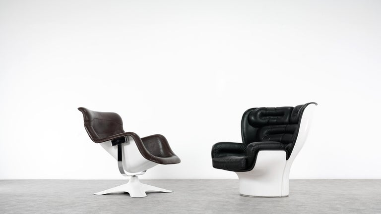 Joe Colombo  Rare Elda Lounge Chair for Comfort, Italy, 1963, Black & White For Sale 11