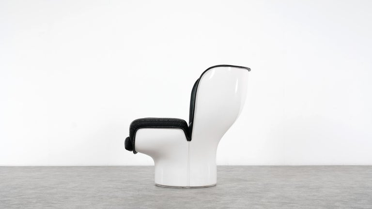 Mid-Century Modern Joe Colombo  Rare Elda Lounge Chair for Comfort, Italy, 1963, Black & White For Sale