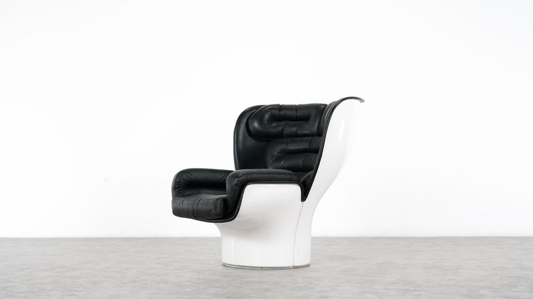 Italian Joe Colombo  Rare Elda Lounge Chair for Comfort, Italy, 1963, Black & White For Sale