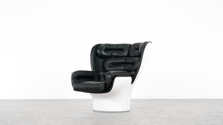 Joe Colombo  Rare Elda Lounge Chair for Comfort, Italy, 1963, Black & White In Good Condition For Sale In Munster, NRW