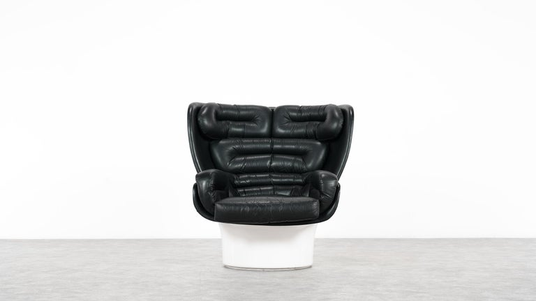 Mid-20th Century Joe Colombo  Rare Elda Lounge Chair for Comfort, Italy, 1963, Black & White For Sale