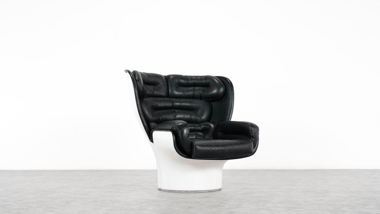 Leather Joe Colombo  Rare Elda Lounge Chair for Comfort, Italy, 1963, Black & White For Sale