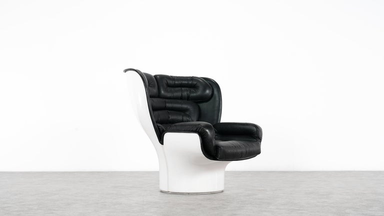 Joe Colombo  Rare Elda Lounge Chair for Comfort, Italy, 1963, Black & White For Sale 1