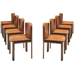 Joe Colombo Set of Eight '300' Dining Chairs in Cognac Leather