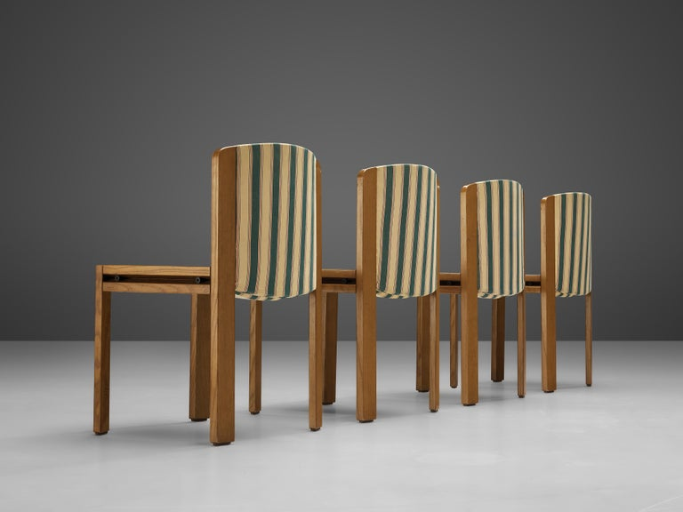 Mid-Century Modern Joe Colombo Set of Four '300' Dining Chairs in Striped Upholstery For Sale