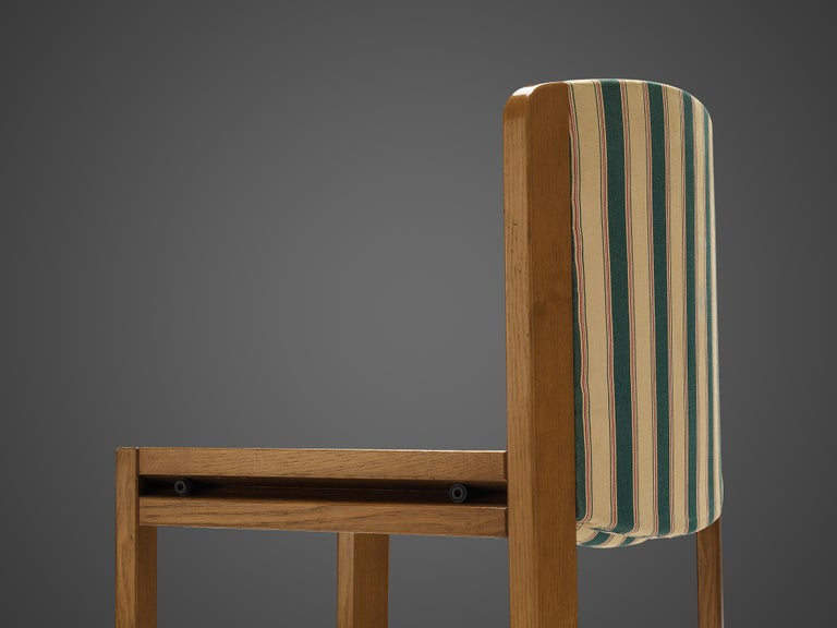 Italian Joe Colombo Set of Four '300' Dining Chairs in Striped Upholstery For Sale