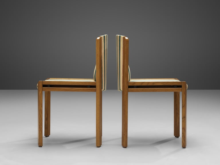 Joe Colombo Set of Four '300' Dining Chairs in Striped Upholstery In Good Condition For Sale In Waalwijk, NL