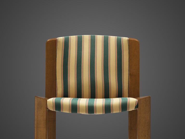 Mid-20th Century Joe Colombo Set of Four '300' Dining Chairs in Striped Upholstery For Sale