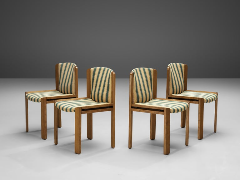 Fabric Joe Colombo Set of Four '300' Dining Chairs in Striped Upholstery For Sale