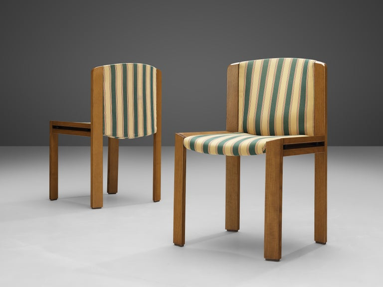 Joe Colombo Set of Four '300' Dining Chairs in Striped Upholstery For Sale 1