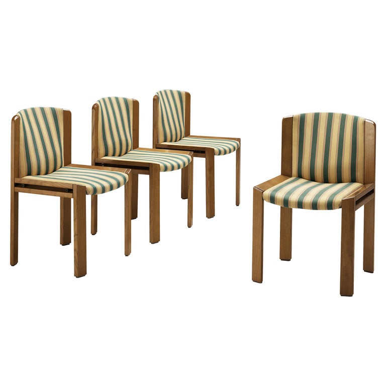 Joe Colombo Set of Four '300' Dining Chairs in Striped Upholstery For Sale