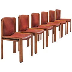 Joe Colombo Set of Six '300' Dining Chairs in Red to Brown Leather