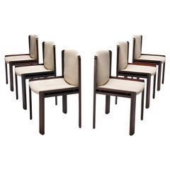 Joe Colombo Set of Six '300' Dining Chairs in White Leather