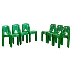 Joe Colombo Set of Six Universale Green Chairs by Kartell, 1960s