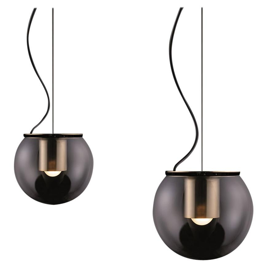 Joe Colombo Set of Two Suspension Lamps 'The Globe' Gold by Oluce