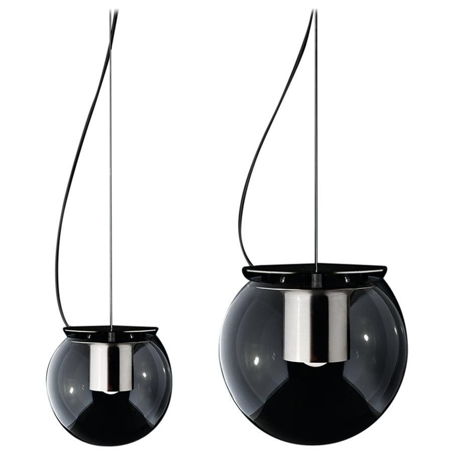 Joe Colombo Set of Two Suspension Lamps 'The Globe' Nickel by Oluce