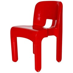 Joe Colombo Space Age Pop Design Red Vintage Plastic Chair 1968 Italy Universale
