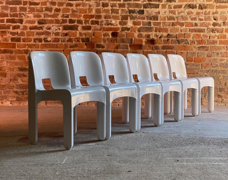 Joe Colombo Universale Chairs Model 4867 Set of Six by Kartell, Italy, 1967 For Sale 4