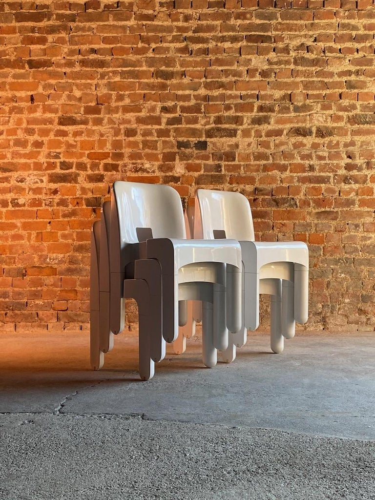 Italian Joe Colombo Universale Chairs Model 4867 Set of Six by Kartell, Italy, 1967 For Sale