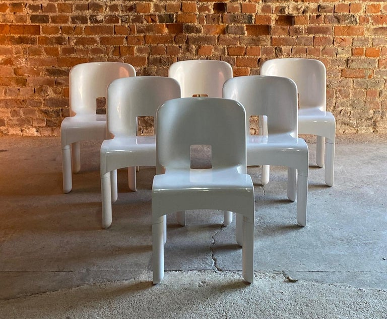 Joe Colombo Universale Chairs Model 4867 Set of Six by Kartell, Italy, 1967 For Sale 1
