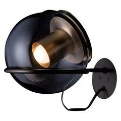 Joe Colombo Wall Lamp 'The Globe' Blown Glass Satin Gold by Oluce