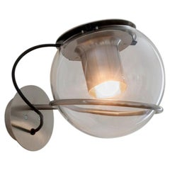 Joe Colombo Wall Lamp 'The Globe' Transparent Blown Glass by Oluce