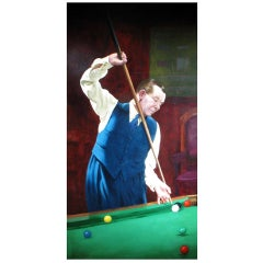 Joe Davis, Billiard or Snooker Painting Oil on Canvas