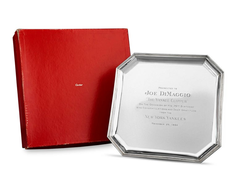 Other Joe DiMaggio Silver Presentation Tray by Cartier For Sale