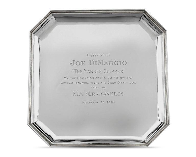 French Joe DiMaggio Silver Presentation Tray by Cartier For Sale