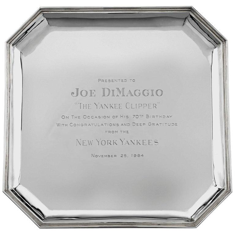 Joe DiMaggio Silver Presentation Tray by Cartier For Sale