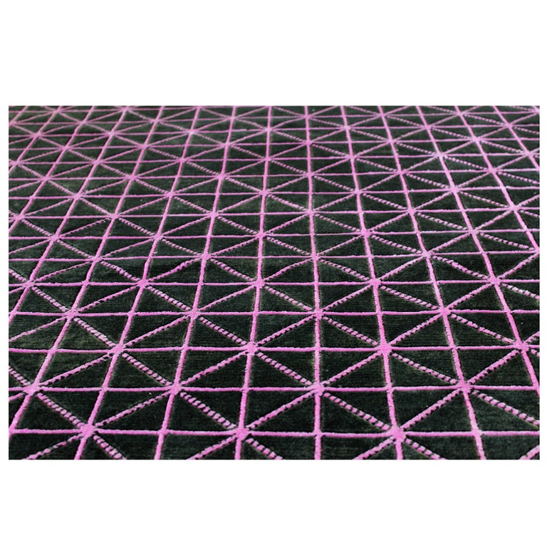 "Hand-Woven Silk and Wool Rug, ""Align"" by Joe Doucet, Limited Edition For Sale"