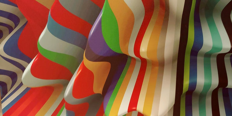 Striped Candy, 38x50, Canvas - Brown Abstract Print by Joe Doyle and Diane Rosenblum