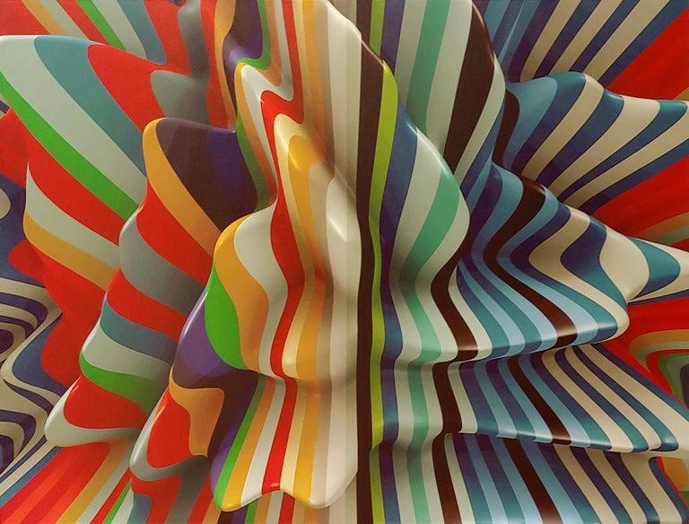 Joe Doyle and Diane Rosenblum Abstract Print - Striped Candy, 38x50, Canvas