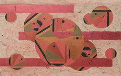Large Postmodern Orange Toned Abstract Geometric Painting in the Style of Miro