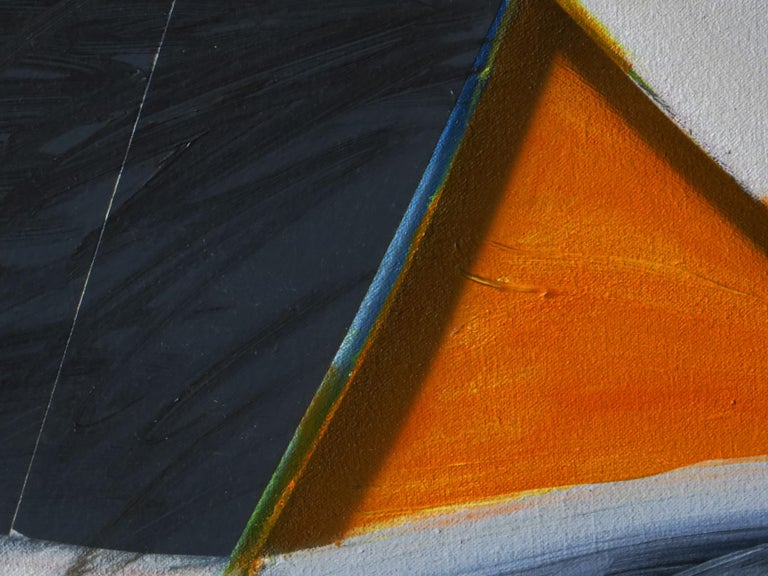 This painting with added elements is an excellent example of Joe Doyle's abstract illusionist art. It is composed of acrylic on shaped canvas with fabric elements added. It measures 36 x 43 inches. Each edge has been painted except for the left edge