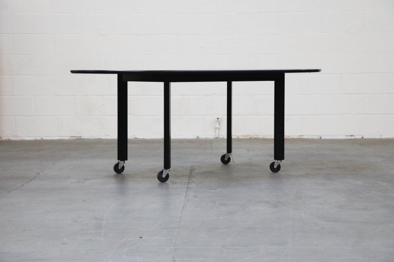 A fantastic Postmodern design, from 1980, by Joe D'Urso for Knoll International 'High Table' which functions perfectly as a dining table, conference table, work table, meeting table or desk. This early production example is signed with a Knoll