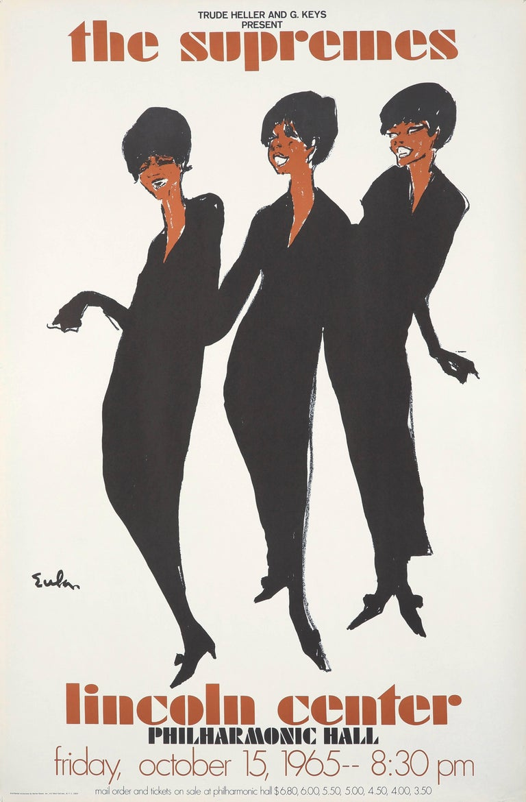 Joe Eula, vintage original The Supremes promo poster: Among Eula's most famous illustrations, this fashionable and soulful work was published in 1965 to publicize the legendary Motown group's concert at Lincoln Center (10/15/65).   Off-set