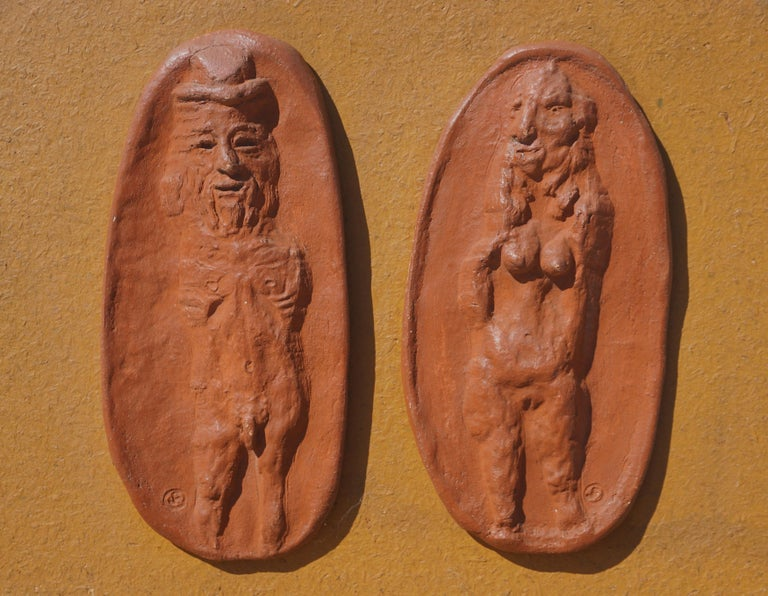 Abstracted Nude Couple Figurative Relief For Sale 1