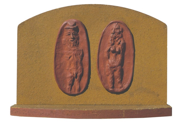 Clay relief of abstracted nude couple by California artist Joe Funk (American, 1918-1981). Monogram signature on individual reliefs and signed on verso. included with photograph and description in his catalog. Catalog with photos of sculpture, and