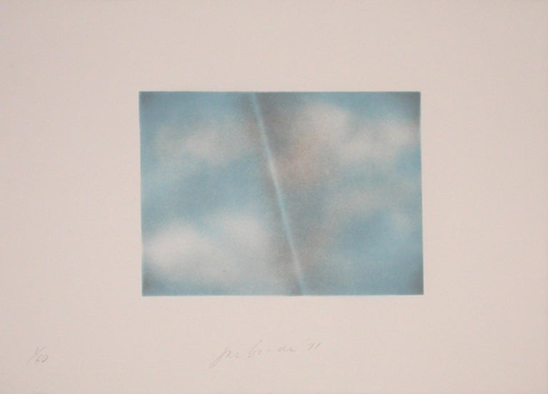 Joe Goode Abstract Print - Grey Folded Clouds - II Blue and white