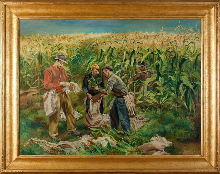 Joe Jones (1909-1963)  Cornfield, 1941 Oil on canvas, 30 ⅛ x 40 ⅛ inches Framed dimensions: 38 x 48 inches Signed and dated lower right: Joe Jones 1941 Label from Selected Artists Galleries, Inc., on verso reads: Joe Jones / Cornfield (1941) / oil /