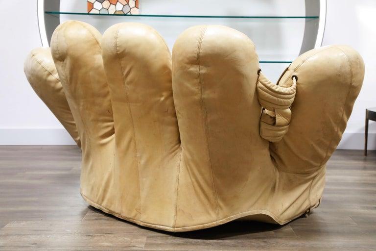 Leather 'Joe' Lounge Chair by De Pas, D'Urbino, Lomazzi for Poltronova, 1970s, Signed For Sale