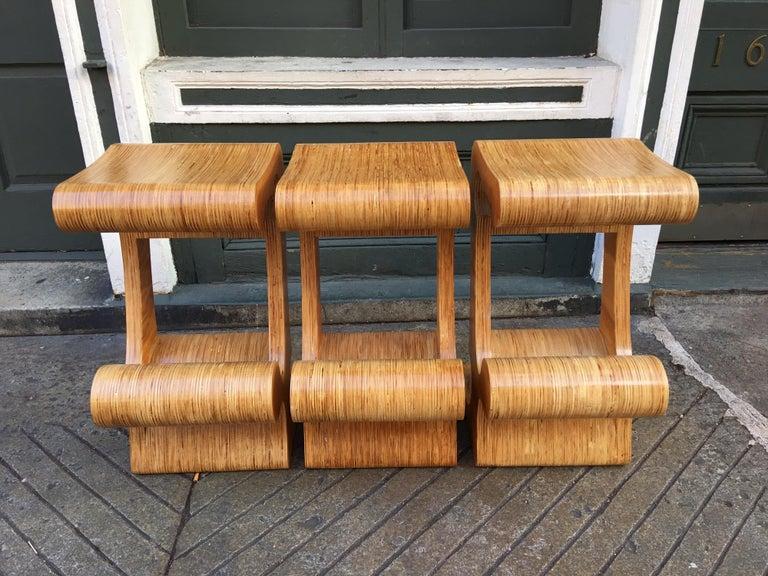 Mid-Century Modern Joe Manus Plywood Laminate Set of 3 Stools For Sale