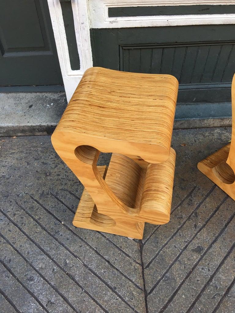 Late 20th Century Joe Manus Plywood Laminate Set of 3 Stools For Sale