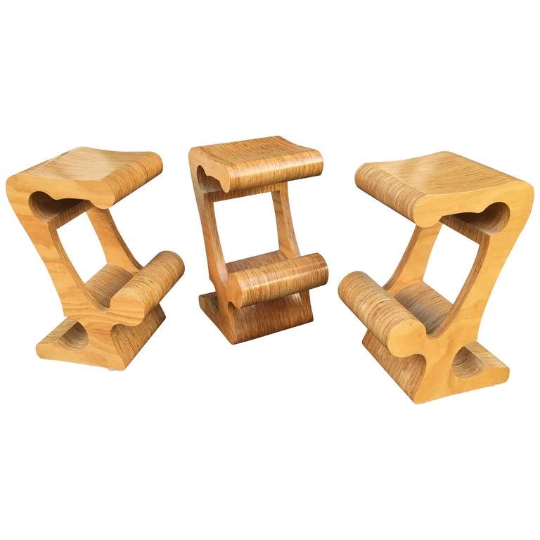 Joe Manus Plywood Laminate Set of 3 Stools For Sale