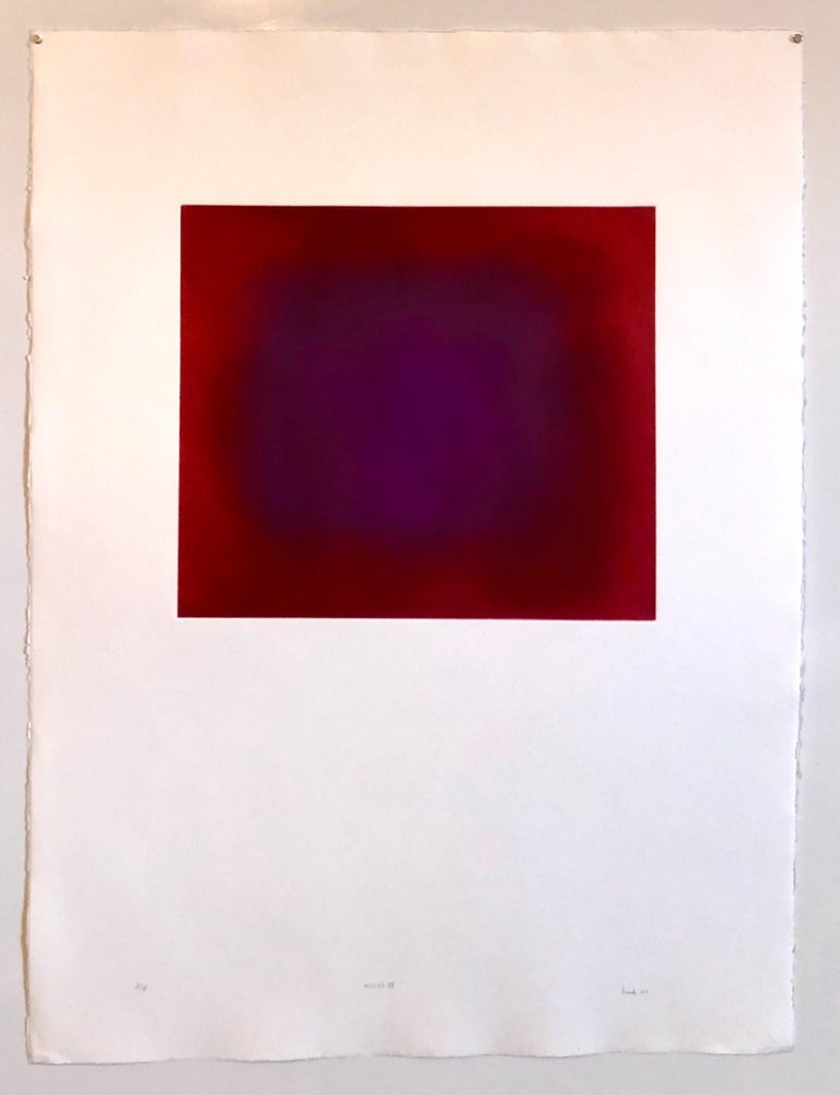 Abstract Color Field Red Purple Gradient Aquatint Etching California Minimalism For Sale 7