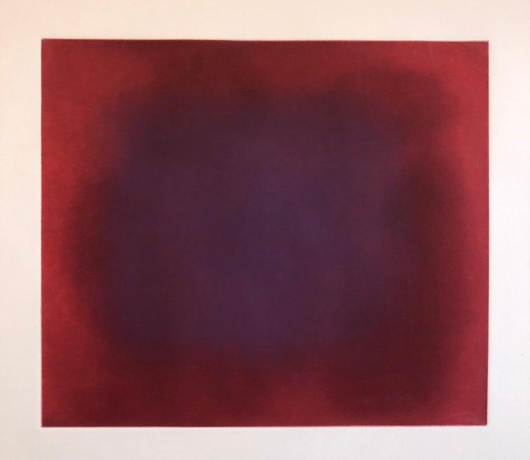 Abstract Color Field Red Purple Gradient Aquatint Etching California Minimalism - Print by Joe Novak