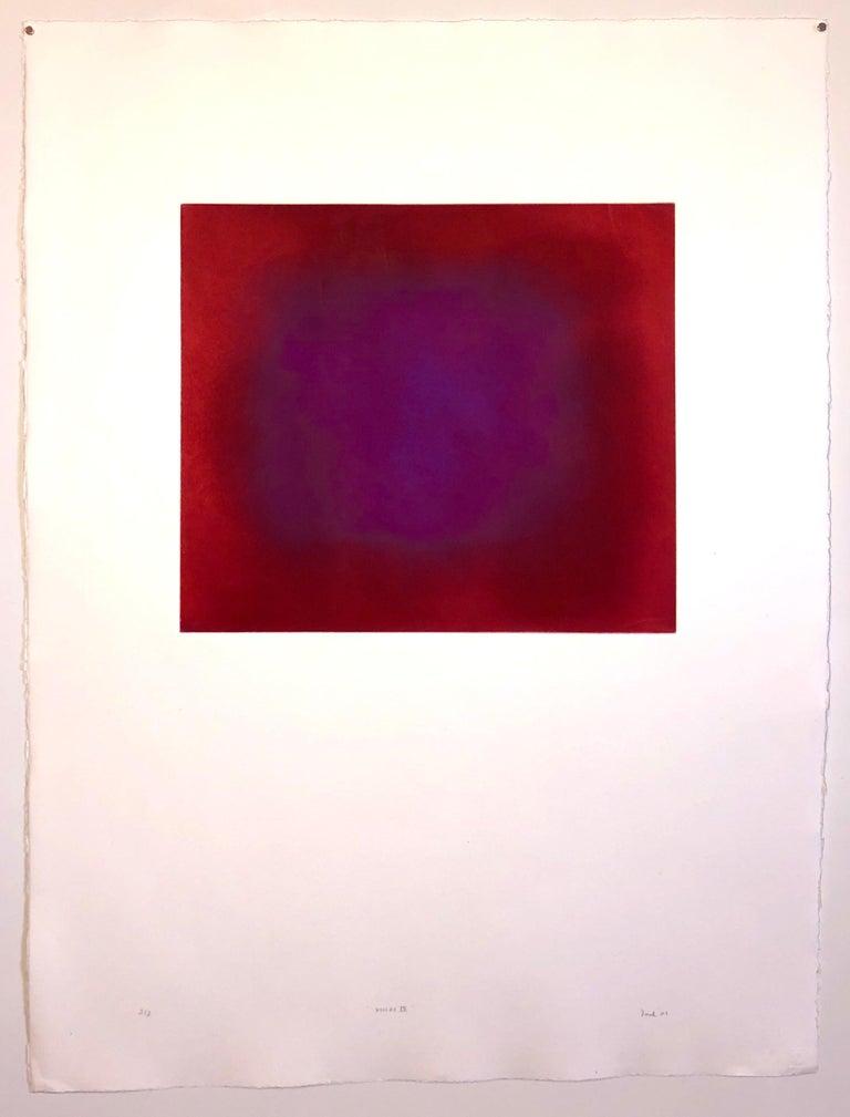 Abstract Color Field Red Purple Gradient Aquatint Etching California Minimalism - Minimalist Print by Joe Novak